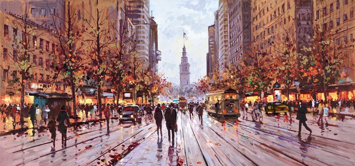 Market Street, San Francisco by Henderson Cisz - Hand Finished Limited Edition on Canvas sized 32x15 inches. Available from Whitewall Galleries